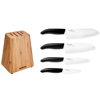 """Picture of Bamboo block and 4 Revolution white ceramic knives (6""""chefs, 5.5""""santoku, 4.5"""", 3"""")"""