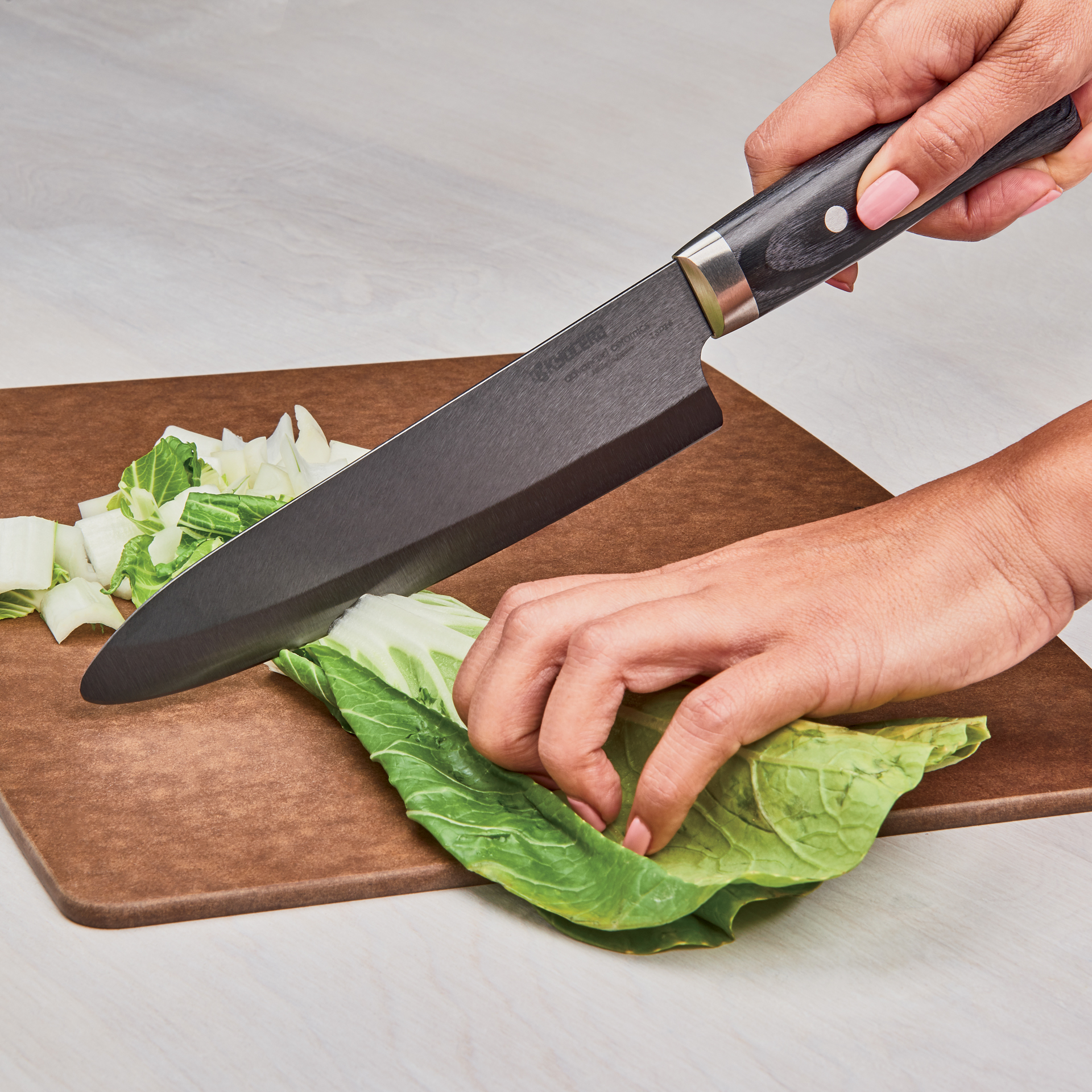 "Picture of Limited 7"" Chef's Knife - Hand-finished Blade with Hand-Crafted Riveted Wood Handle"