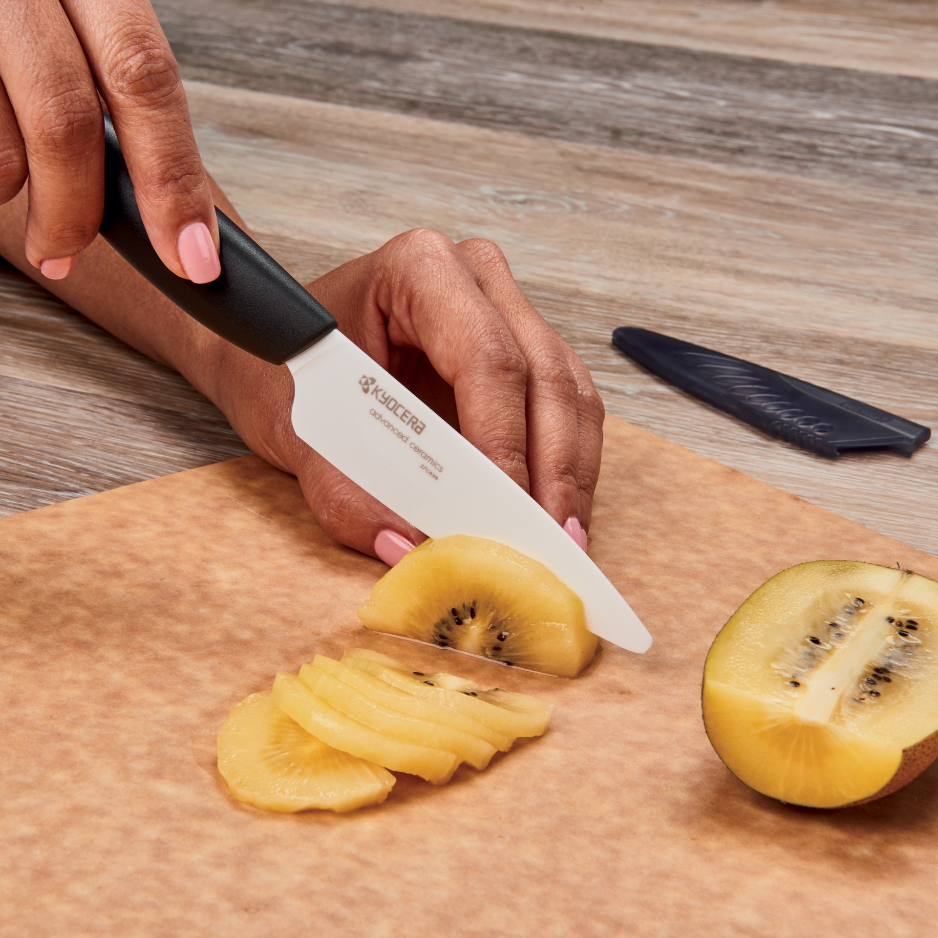 """Picture of Revolution Ceramic 3.7"""" Fruit Knife and Sheath - White"""