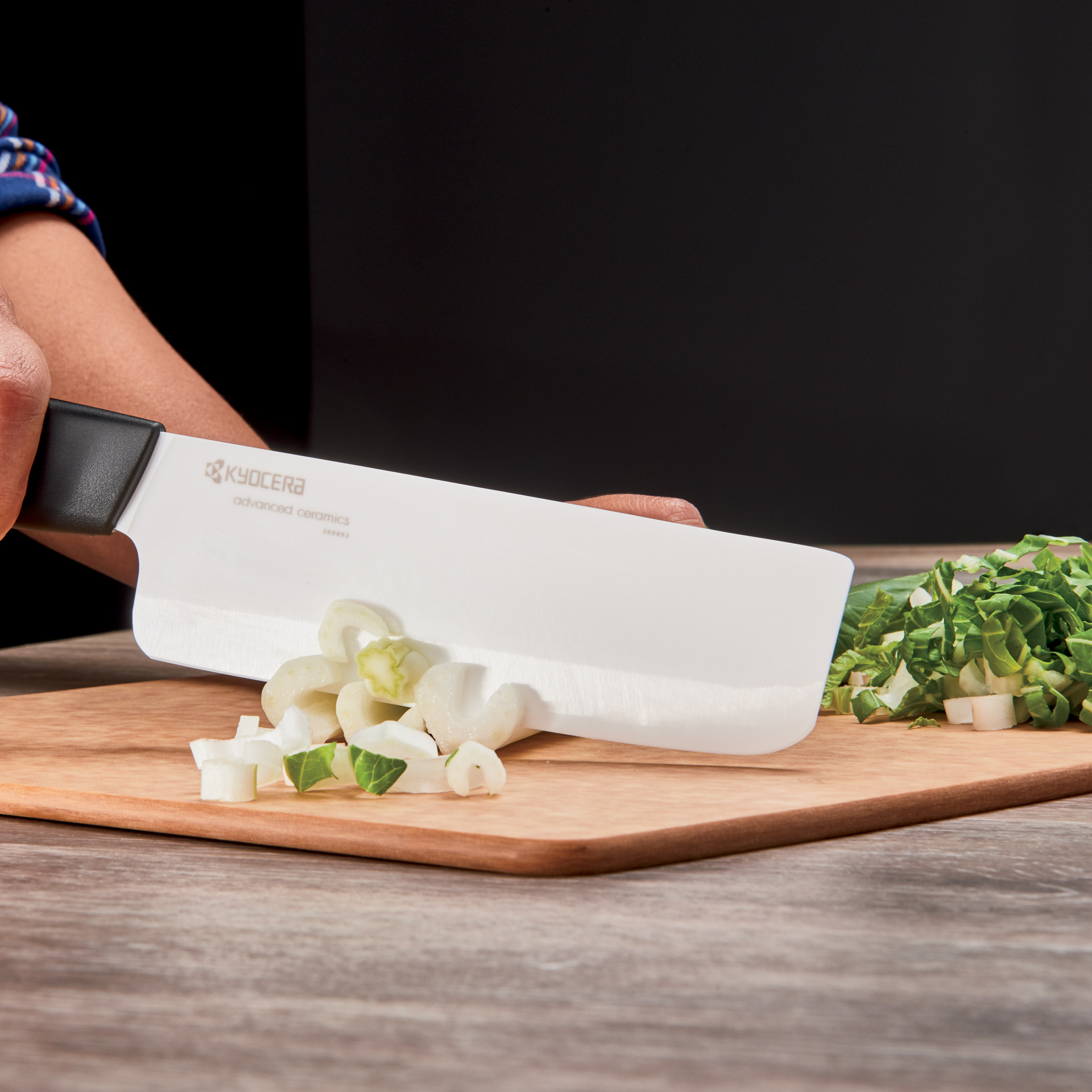 "Picture of Revolution Ceramic 6"" Nakiri Vegetable Cleaver - White"