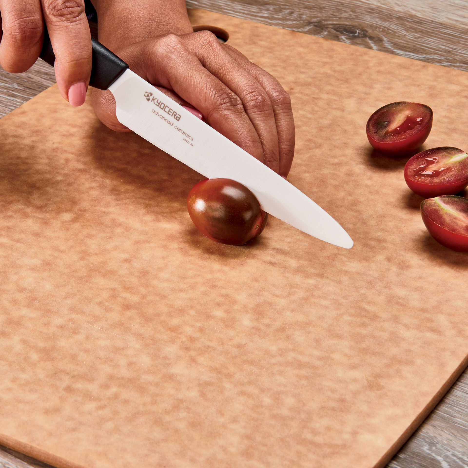 "Picture of Revolution 3 Piece Ceramic Knife Set - 6"" Chef's, 5"" Micro Serrated Tomato and 3"" Paring"