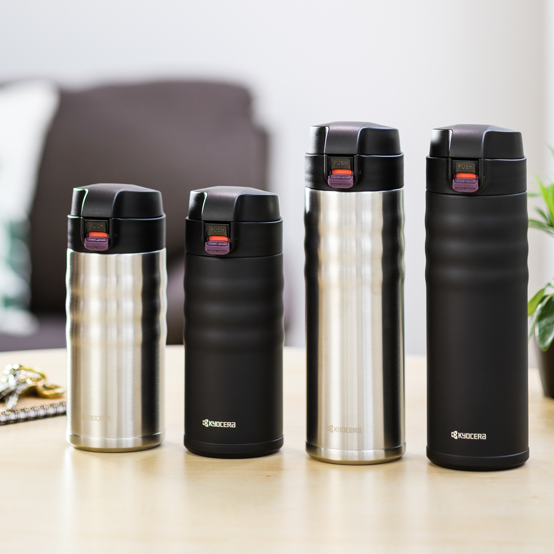 Picture of Flip Top Ceramic Insulated Travel Mug