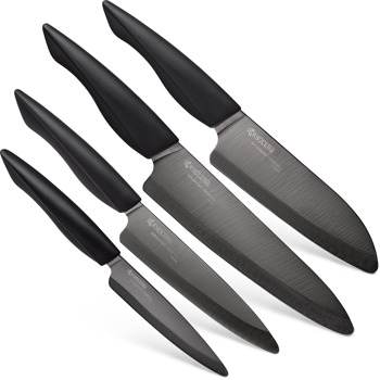 "Picture of Innovation Soft Grip 4 Piece Ceramic Knife Set - Black 4.5"" Utility, 5"" Slicing, 5.5"" Santoku and 7"" Chef's Knife"