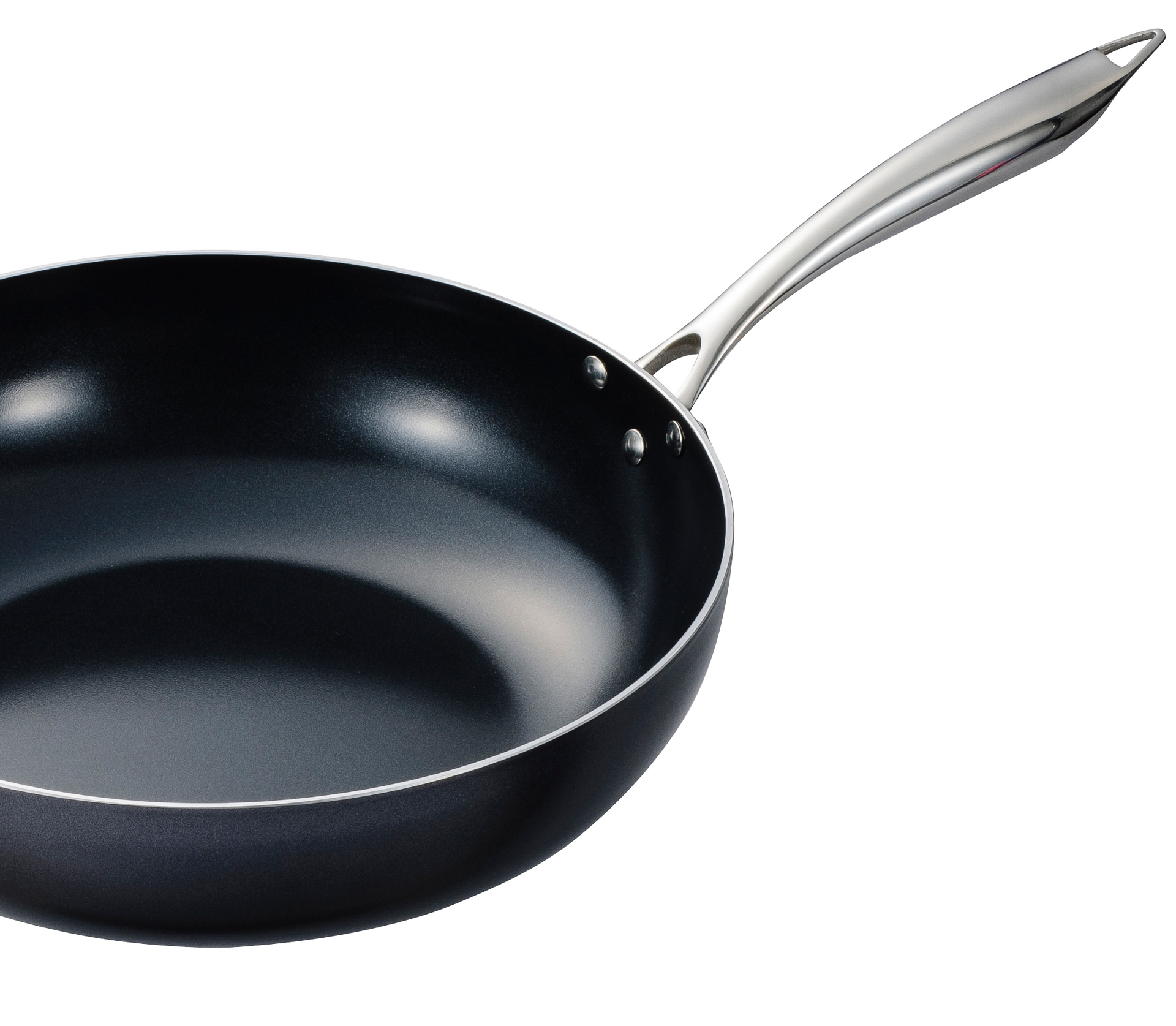 "Picture of 12.5"" Ceramic Nonstick wok with Tempered-Glass Lid"