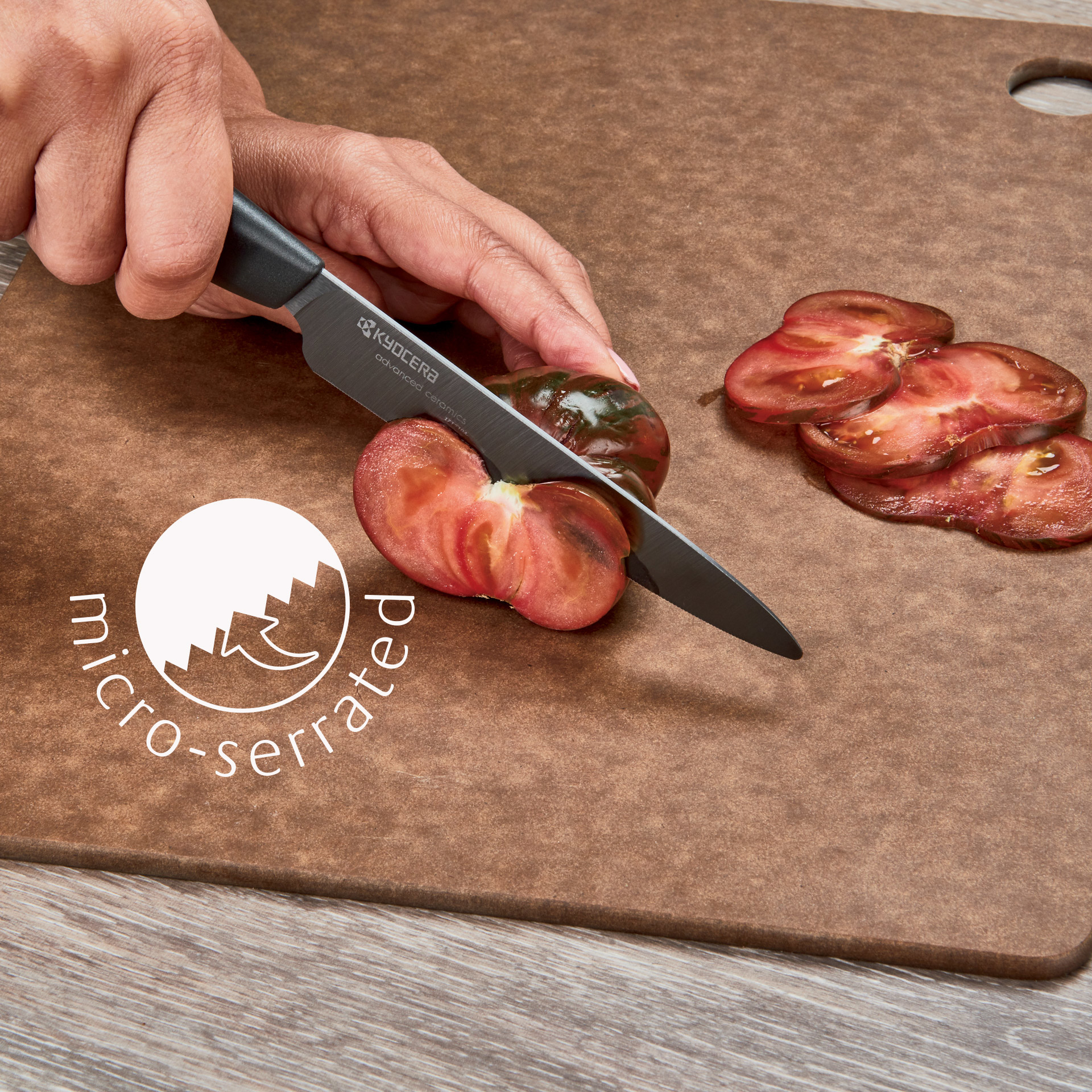 """Picture of Revolution 3 Piece Ceramic Knife Set - 6"""" Chef's, 5"""" Micro Serrated Tomato and 3"""" Paring - Black"""